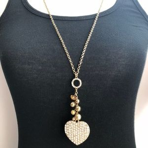 Jewelry - Long gemstone heart pendant charm necklace